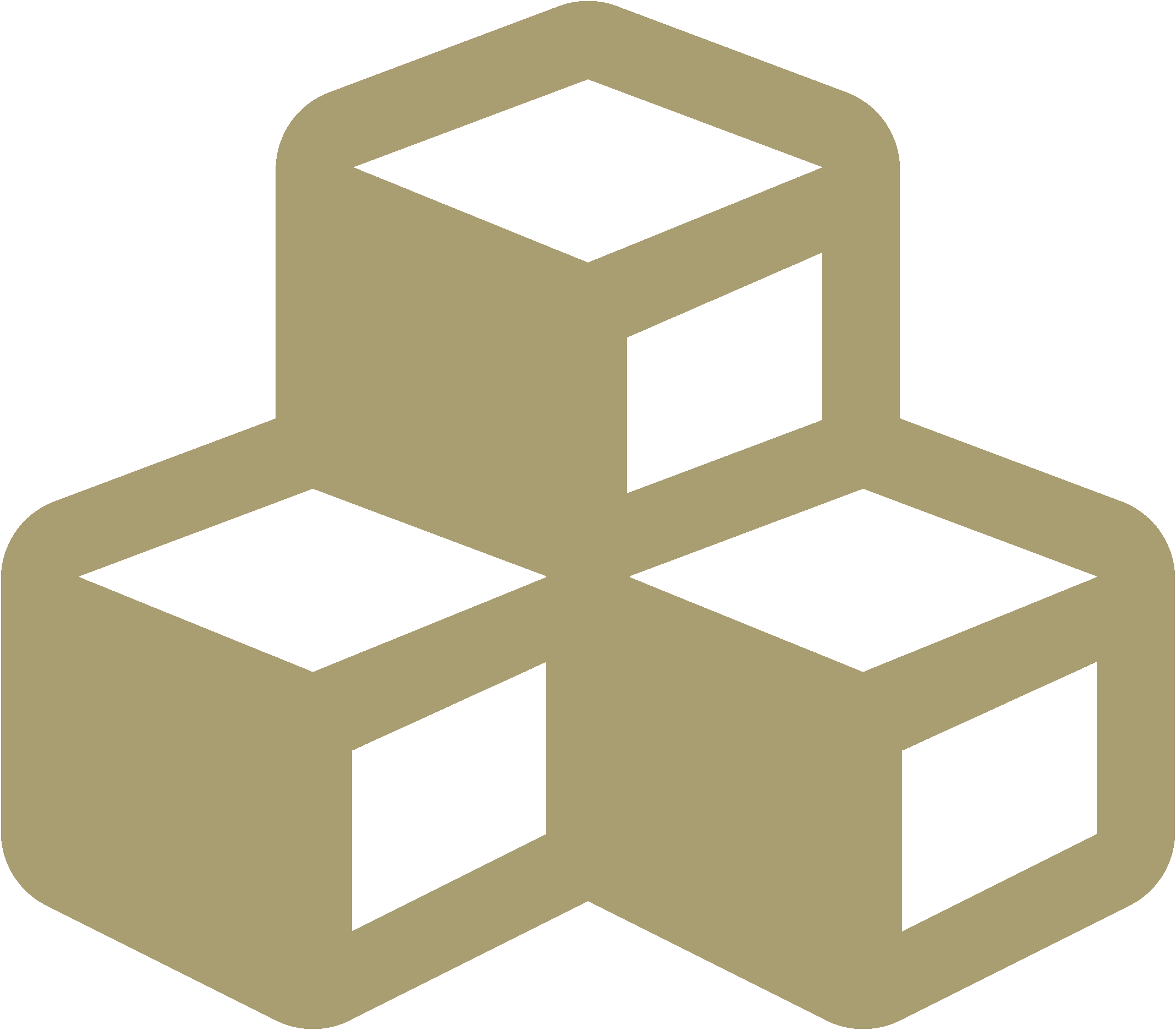 three cubes icon gold